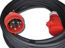 2m  400v 3 phase 5 pin  32a extension lead (6mm H07 cable) IP44 Rated